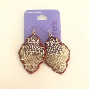 "Claire's Gold 2"" Filigree Thread Drop Earrings Red"
